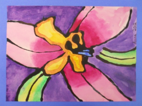 "Student Artist: ANNA S, Grade 5[ NATURE'S FAVORITE COLORS ] ""I was inspired by Georgia O'Keeffe and her painting of Oriental Poppies. She includes only the most important details and is really creative with color. I didn't use the colors of the actual flower. I chose these colors because they are all the different colors of the rainbow."""