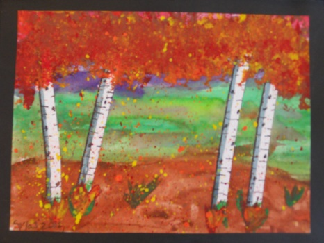 "Student Artist: SYLAS T, Grade 3Beautiful Landscape""I used four pieces of masking tape. I bent it a little bit to make my birch trees. Then I painted fall colors and when I took the masking tape off, it was white just like a birch tree! Next, I added birch tree textures but NOT in a pattern. I put a black line and a grey line on the left side of each tree to show the shadow. I used a sponge to dab in leaves at the top of the trees and then I splatter painted all over the picture. Last, I added grass on the foreground. I really, really like my picture!"""