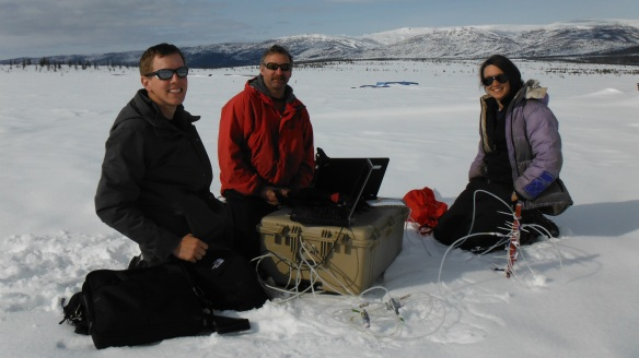 Field Tech. John Krapek,  BFA Science Teacher Mr. Lane and Researcher Elizabeth Webb collect data using a LI-COR CO2 Gas Analyzer at the University of Florida Carbon in Permafrost Experimental Research site near Healy, Alaska