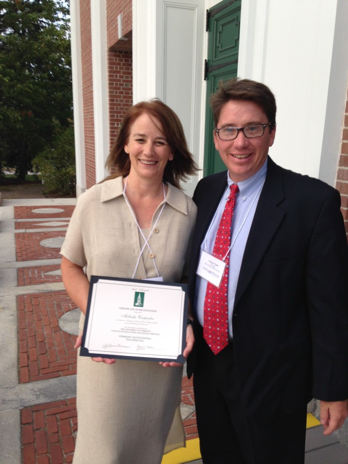 MELINDA CARPENTER, Outstanding Teacher 2013  (pictured with BFA Fairfax Elementary Principal Tom Walsh). Lindy is a 6th Grade Science & Social Studies Teacher at BFA.