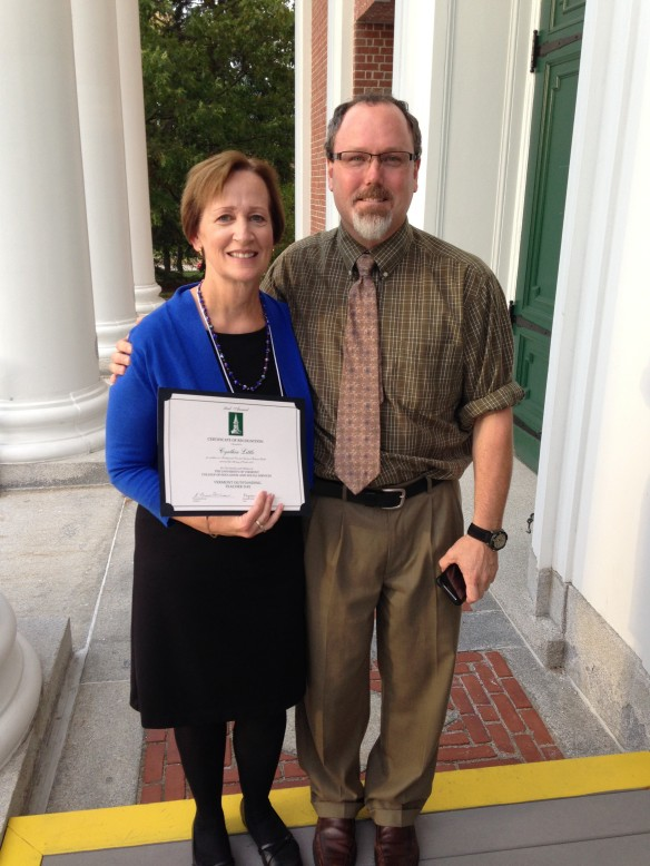 CINDY LITTLE - Outstanding Teacher 2013 (pictured with Georgia Elementary Principal Steve Emery)