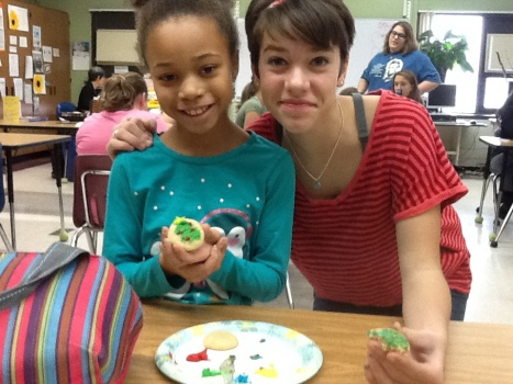 Scout and Dahlia show off their creations