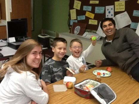 Victoria Brown, Ivy, Nicolas, and Karan Saini have fun over lunch!