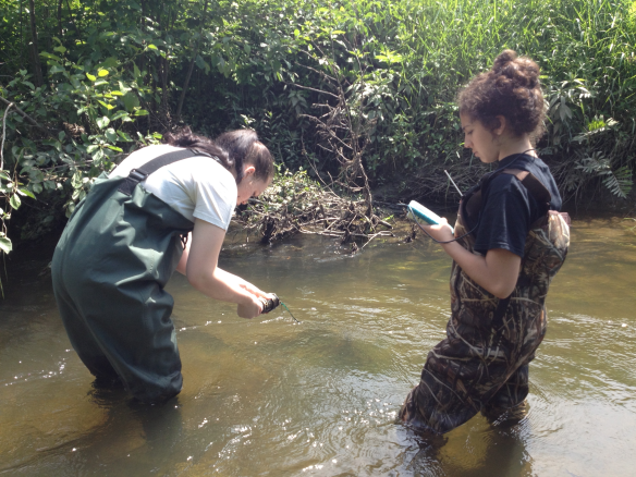 BFA students Sophie Lee and Rebekah Larose deploy a HoboWare temperature sensor at Black Creek in North Fairfield.