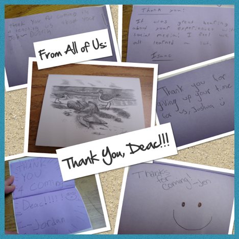 A collage of Thank You notes the students and staff sent to Ms. Decarreau.