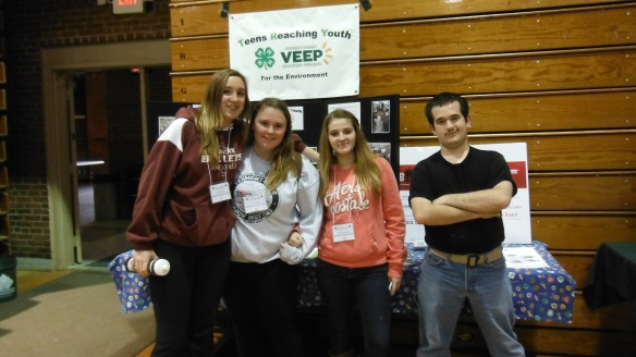 BFA High School students (left to right) Samantha King, Kailey Ware, Mayla Mashteare and Marshall Bushey stand in front of a display at the YES! Conference at the Barre Civic Center.