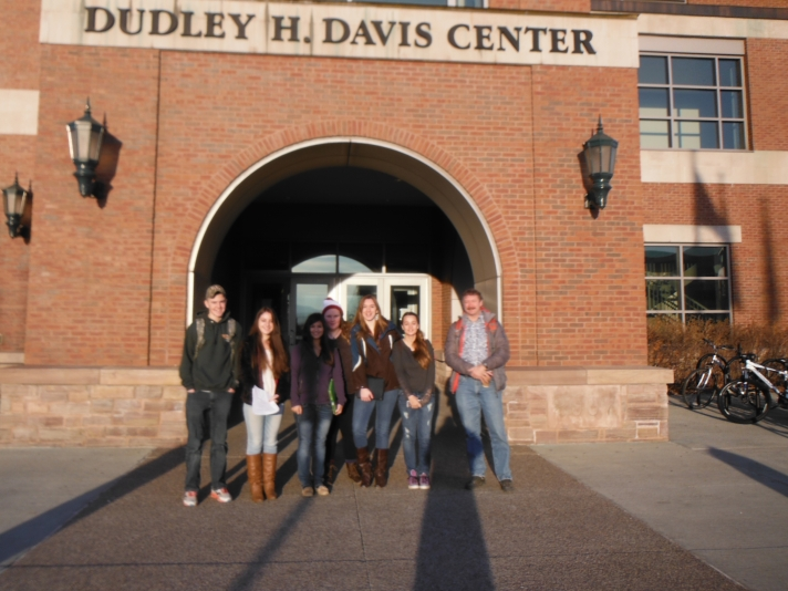 BFA high school students left to right, Kyle Louko, Annie DeZalia, Jennifer Plankey, Kailey Ware, Samantha King, Grace Riley and Mr. Lane (HS Science) at UVM for Youth Climate Summit