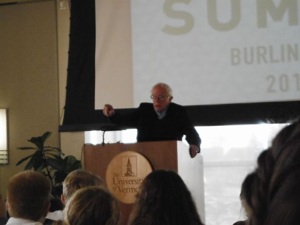 Senator Sanders addresses the Youth Climate Summit at University of Vermont Dudley Davis Center.