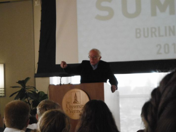Senator Sanders addresses the Youth Climate Summit at University of Vermont Dudley Davis Center.