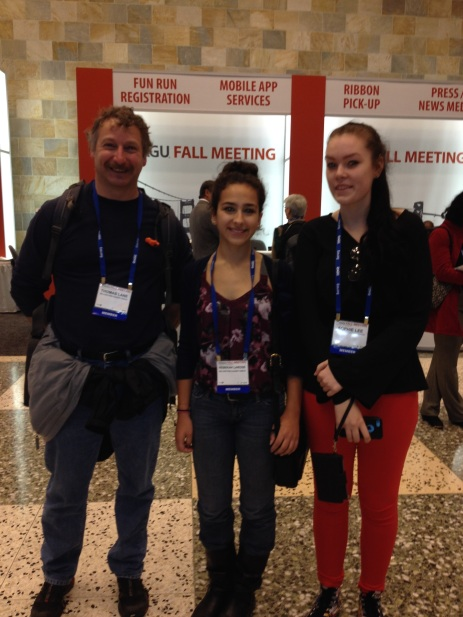 (Science Teacher Thomas Lane and students Rebekah Larose and Sophie Lee during registration for AGU Fall Conference in San Francisco, CA)