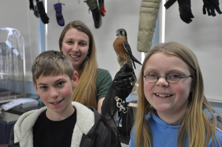 Fletcher's PBIS system centers around the falcon mascot. The Vermont Institute of Natural Science recently brought a live falcon (and other birds) to Fletcher as part of a mid-year review of school-wide expectations.