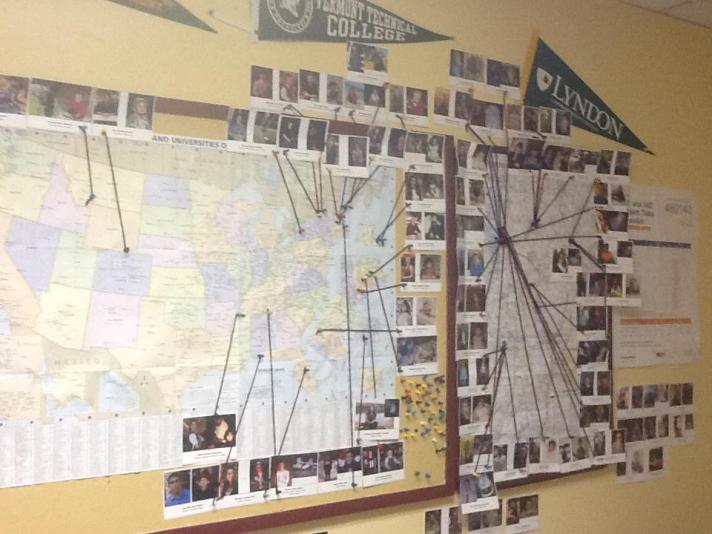 Guidance Office tradition showing graduating seniors photos and their destinations for after graduation. Many thanks to Karen McNall and Lily Wilson for their work in organizing this map.