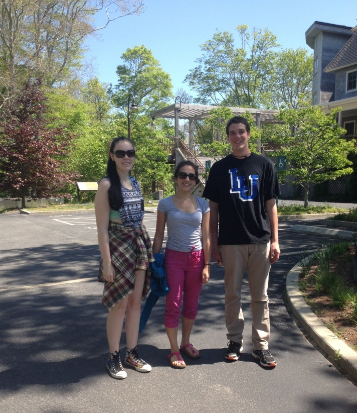 (Sophie Lee, Rebekah Larose and Dave Legris at the entrance to Woods Hole Research Center in Woods Hole, MA.)