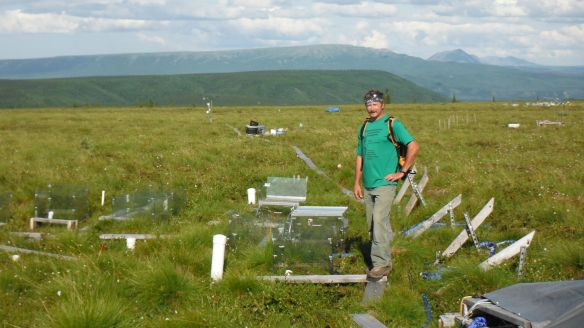 (HS science tchr. Tom Lane at the Carbon in Permafrost Experimental Heating Project in Healy, AK. during the summer 2014.)
