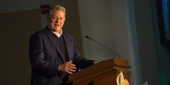 Former Vice President Al Gore speaks at UVM on the Climate Crisis and the Case for Hope. (Photo courtesy, Sally McCay)