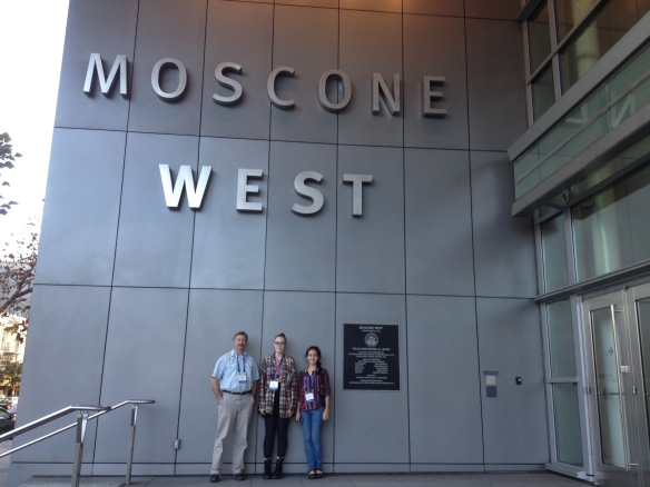 ( BFA students Sophie Lee and Rebekah Larose with Science teacher Tom Lane shown at the Moscone Convention Center in San Francisco, CA during the American Geophysical Union 2015 Fall Meeting.)