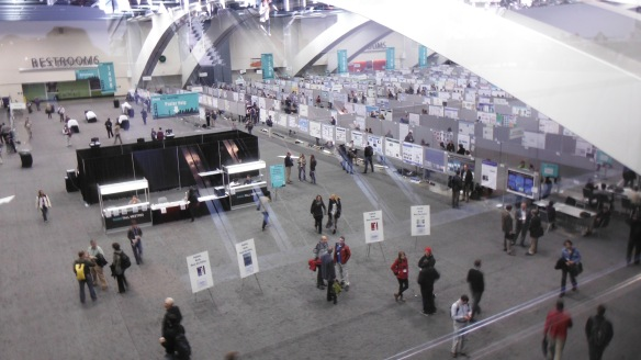 Inside Moscone South Convention Building in San Francisco, CA.  Half of the poster hall in view.