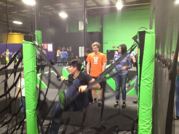 (BFA senior Alex Ferguson (center) and Puerto Rican students Kristopher and Keisha from Juan Ponce de Leon School in Florida, PR enjoy recreation Friday evening at AirDrop, a trampoline facility in Williston, VT.)