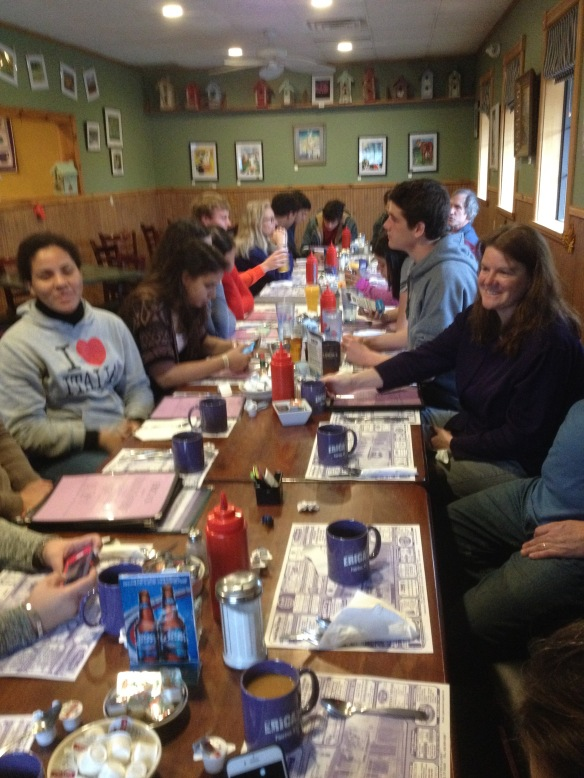 "(Puerto Rican students, their teachers and host families from BFA-Fairfax enjoy breakfast at Erica's in Fairfax before heading to tour Bill Rowell's ""Cow Power"" farm in Sheldon, VT.)"