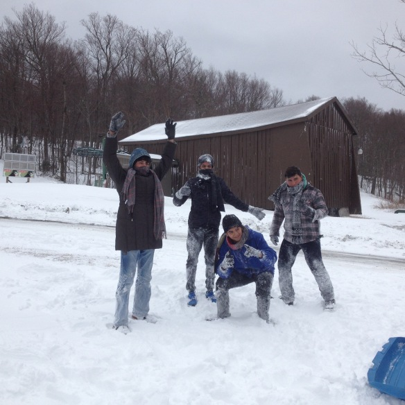 (Puerto Rican/BFA exchange students mug for the camera in the fresh snow at Bolton Valley.)
