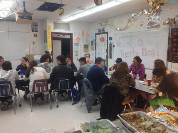 (Puerto Rican students, teachers and host families enjoy dinner in Mr. Lane's science classroom at BFA HS.)