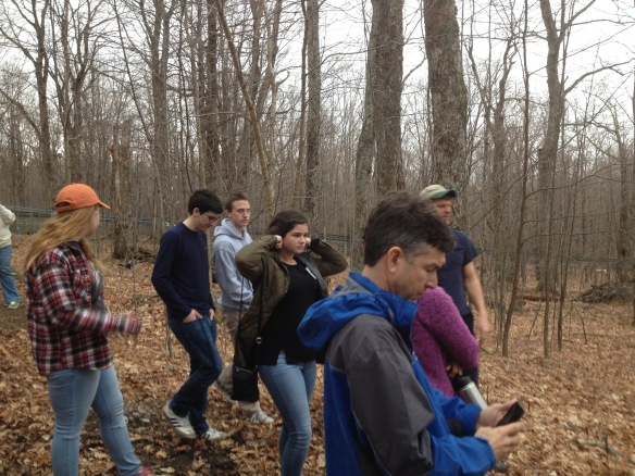 (Puerto Rican exchange students and BFA Botany students from Mr. Lane's class visit the Proctor Maple Research Center in Underhill, VT.  The tour was conducted by Mark Isselhardt, (in the background), a UVM Extension Maple Specialist.