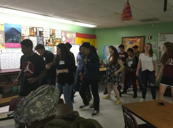 (Puerto Rican students share dance moves with BFA students in Ms. Kerri Brien's Spanish class.  Photo credit Kerri Brien.)