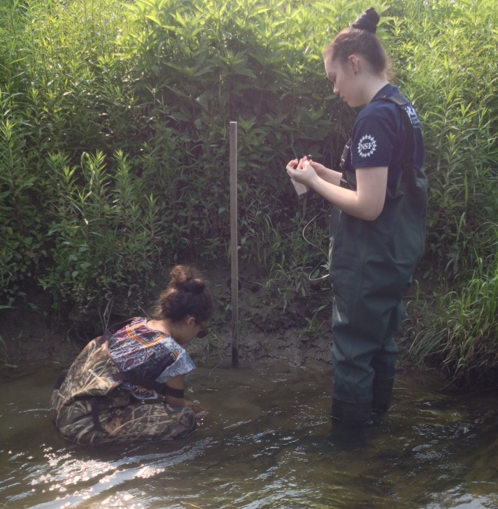 (Rebekah Larose and Sophie Lee deploy a decomposition bag in the toe zone of Black Creek at their E. Fairfield site.)