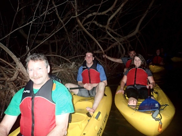 BFA HS science teacher.  Mr. Lane and senior David L share a kayak among the mangroves during a night tour of the bioluminescent bay at Las Croabas, PR