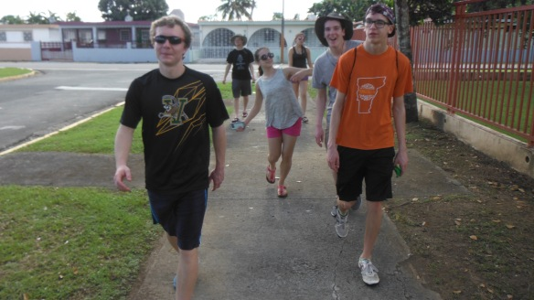 BFA students (left to right, Alex F, Rebekah L, Dave L and Bastien T) and Harford HS students out for a morning walk at a local sports and training center in Carolina, PR.  The Municipality of Carolina provided Housing in the dorms here for two nights.