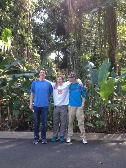 BFA students, left to right, David L, Alex F and Bastien T at El Verde Field Station in the Luquillo Long Term Ecologic Research Forest (LTER)  in PR.