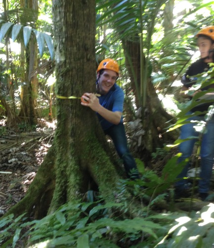 BFA senior David L collects data in the tropical forest at Luquillo LTER, PR