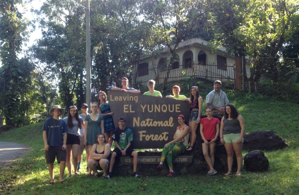 Group picture with BFA and Hartford HS students at the tropical forest in PR