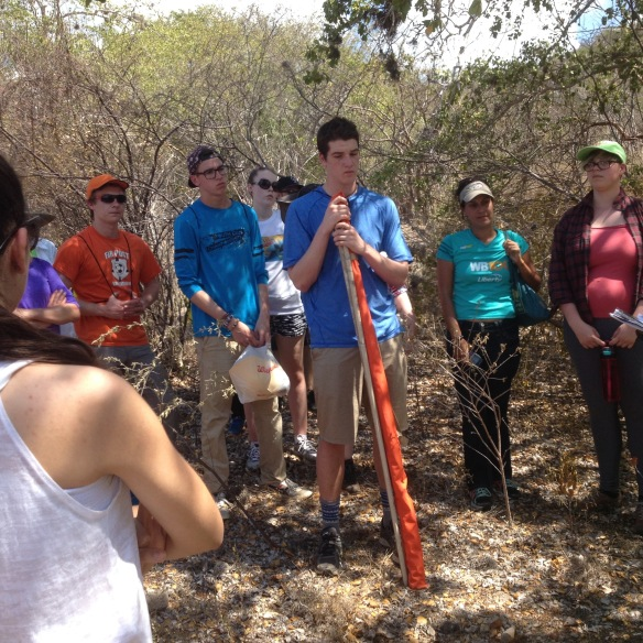 Puerto Rican students from Áurea E. Quiles Claudio HS teach BFA and Hartford HS students about forest system dynamics at the dry forest in Guanica, PR.  Temperature that day was 122 degrees F.