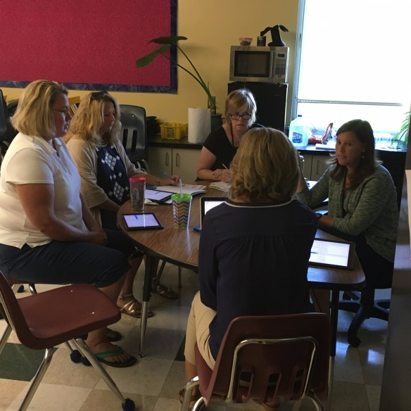 Rhonda Siemons working on tech integration with the 5th grade team.