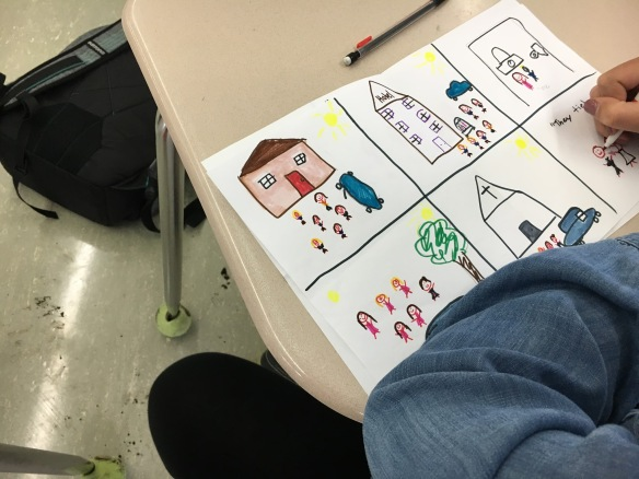 A student creates a literature and film storyboard mockup.