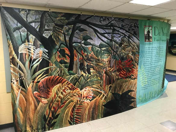 Mural featuring art and education about Henri Rousseau
