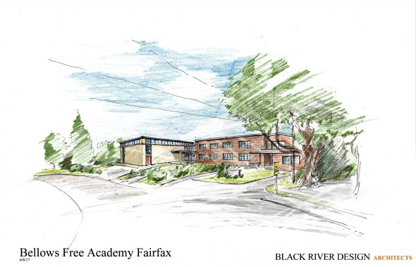 An artist rendering of the renovated entrance to BFA Fairfax.