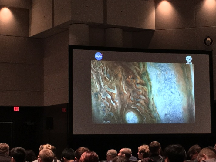 Image of the surface of Jupiter taken by Juno Mission shown at AGU Shoemaker Lecture.