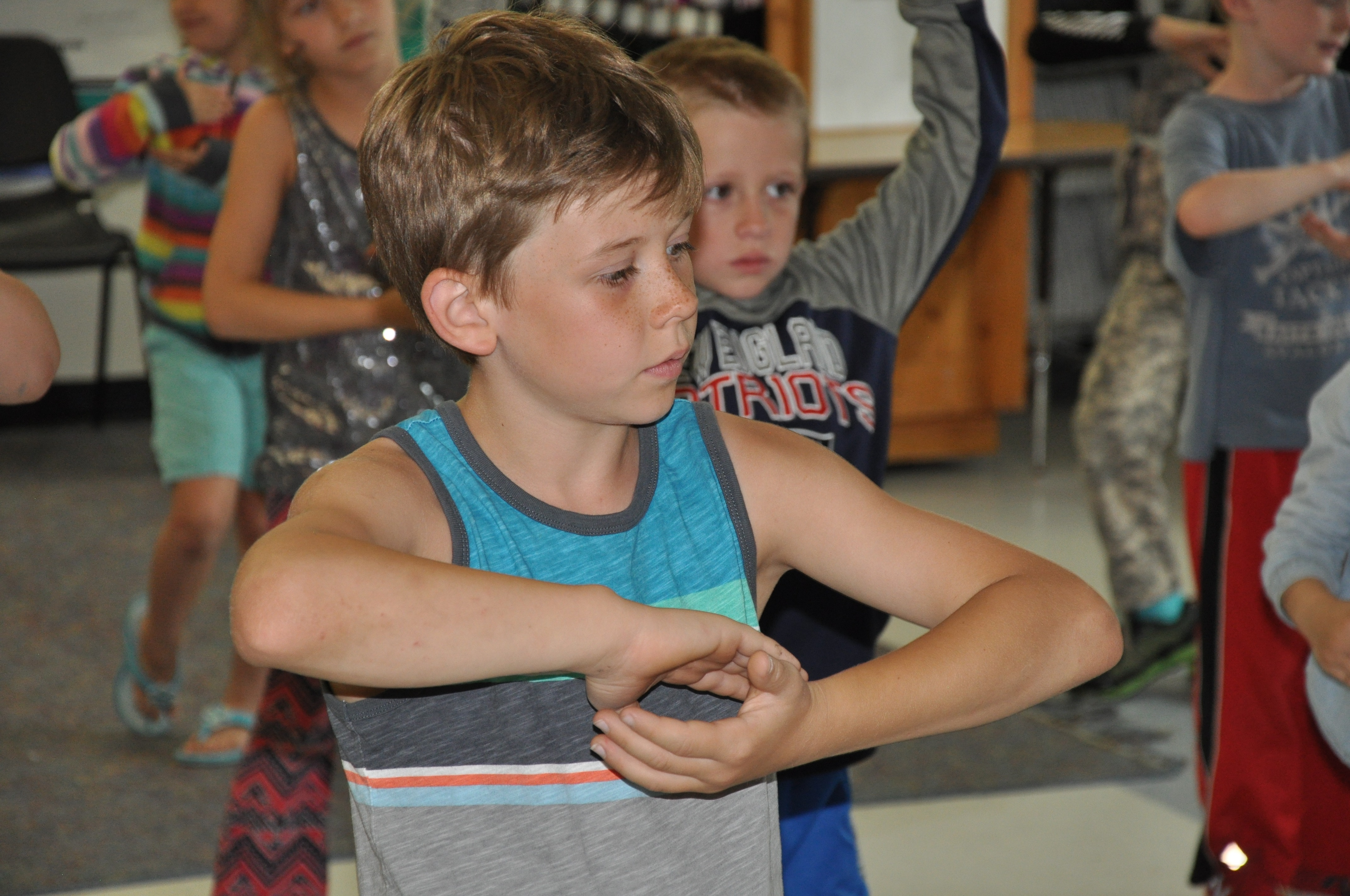 A Fletcher student practices Yoga as part of a classroom celebration of positive behavior.