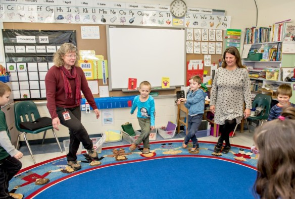 Ms. O'Brien regularly incorporates physical movement into the classroom.