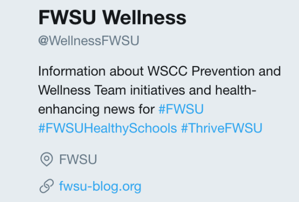 Information about WSCC Prevention and Wellness Team initiatives and health-enhancing news for #FWSU #FWSUHealthySchools #ThriveFWSU