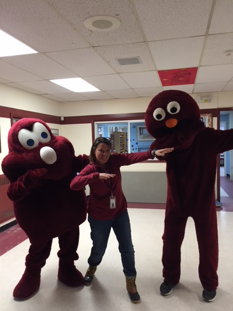 Everybodys favorite mascots Rooney and Gumdrop at BFA Fairfax