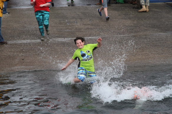 A BFA Fairfax student bravely takes the Penguin Plunge to support Special Olympics Vermont.