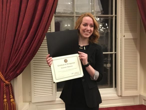 Shannon Mahoney, Vermont Presidential Scholar