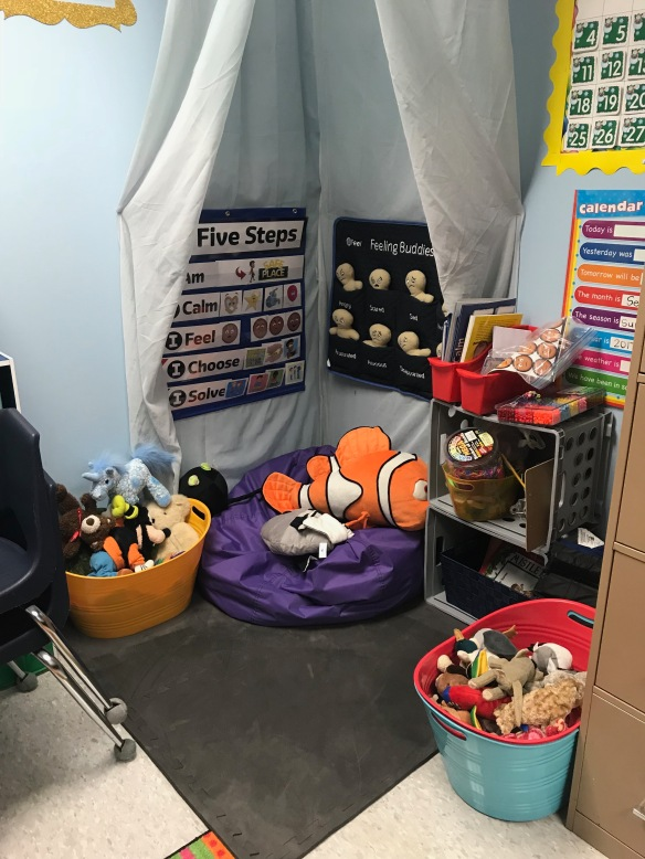 a quiet sensory corner provides a rest from sensory overstimulation