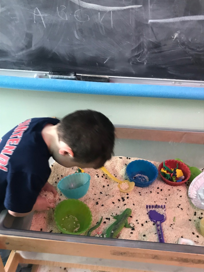 a play sandbox is a great sensory tool for some students