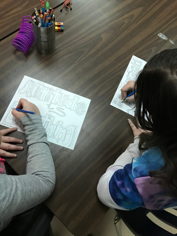 students color during a sensory break