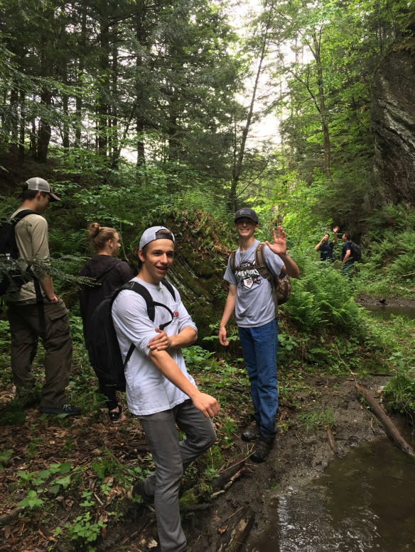 (Left to right Jackson, Sky, Jaxon and Michael at Branch Creek near the eastern edge of Franklin County southeast of Bakersfield, VT.)