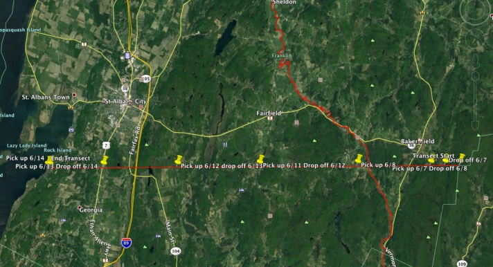 (Map of Transect Franklin County Field Team route.)